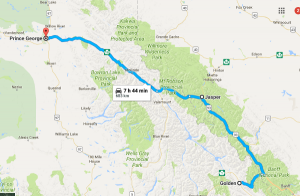 Route Map, Golden BC to Prince George